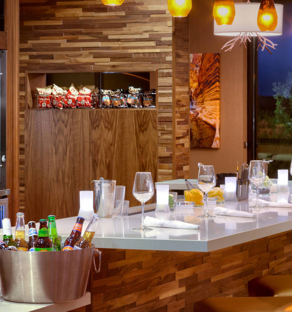 Listello Wood Surfaces was used as part of this hotel bar design at Marriott Courtyard in Sedona, Arizona.