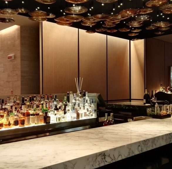 Make your bar design stand out by incorporating the Metal Mesh woven textile by Materials Inc.