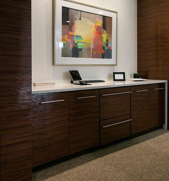 Give your office case goods a facelift by having cabinets featuring Prensa embossed wood panels by Materials Inc.