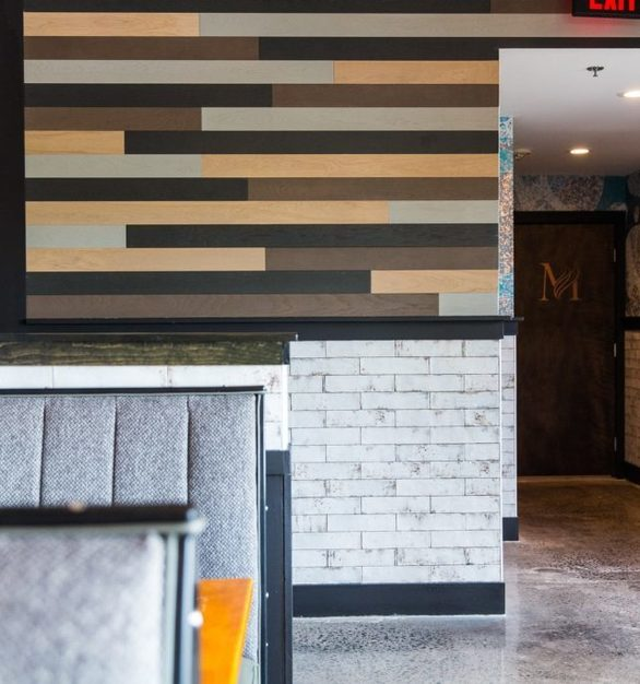 Decorate your restroom hallway with Harmony multi-toned wood panels by Materials Inc.
