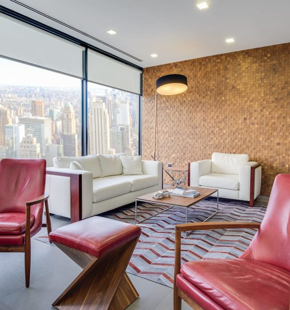 A beautiful private office lounge area featuring Tree-D Mosaics by Materials Inc.