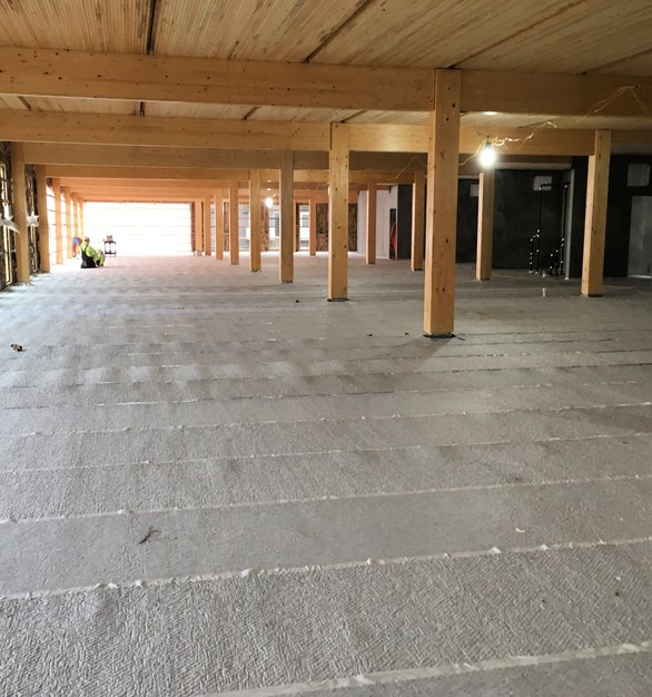 Maxxon's Acousti-Mat 3/4 Premium was used to help control the sound transfer between the floors of the Dowel-Laminated Timber building.