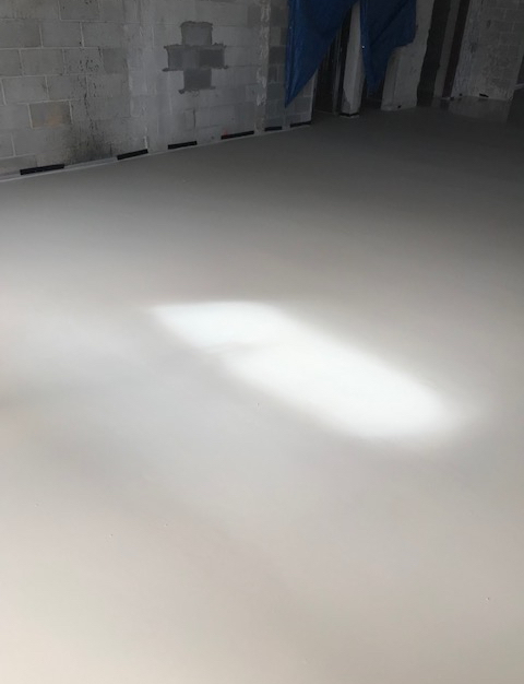 One inch Dura-Cap underlayment pour at this garage/office conversion.