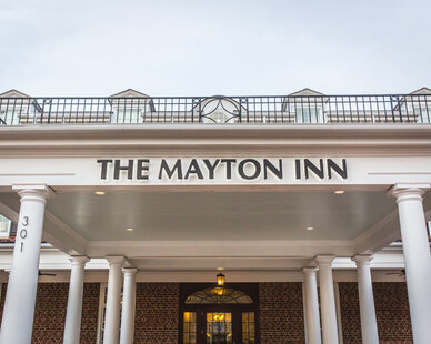 The Mayton Inn is a boutique hotel with a gorgeous design.  Park under the grand porte cochere to check in and avoid the elements.  The Mayton Inn worked with QuietRock to install their sound reducing drywall to create a quiet retreat for their guests.
