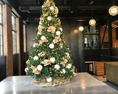 Interior holiday decor for any commercial space is a service McCaren Designs provides.