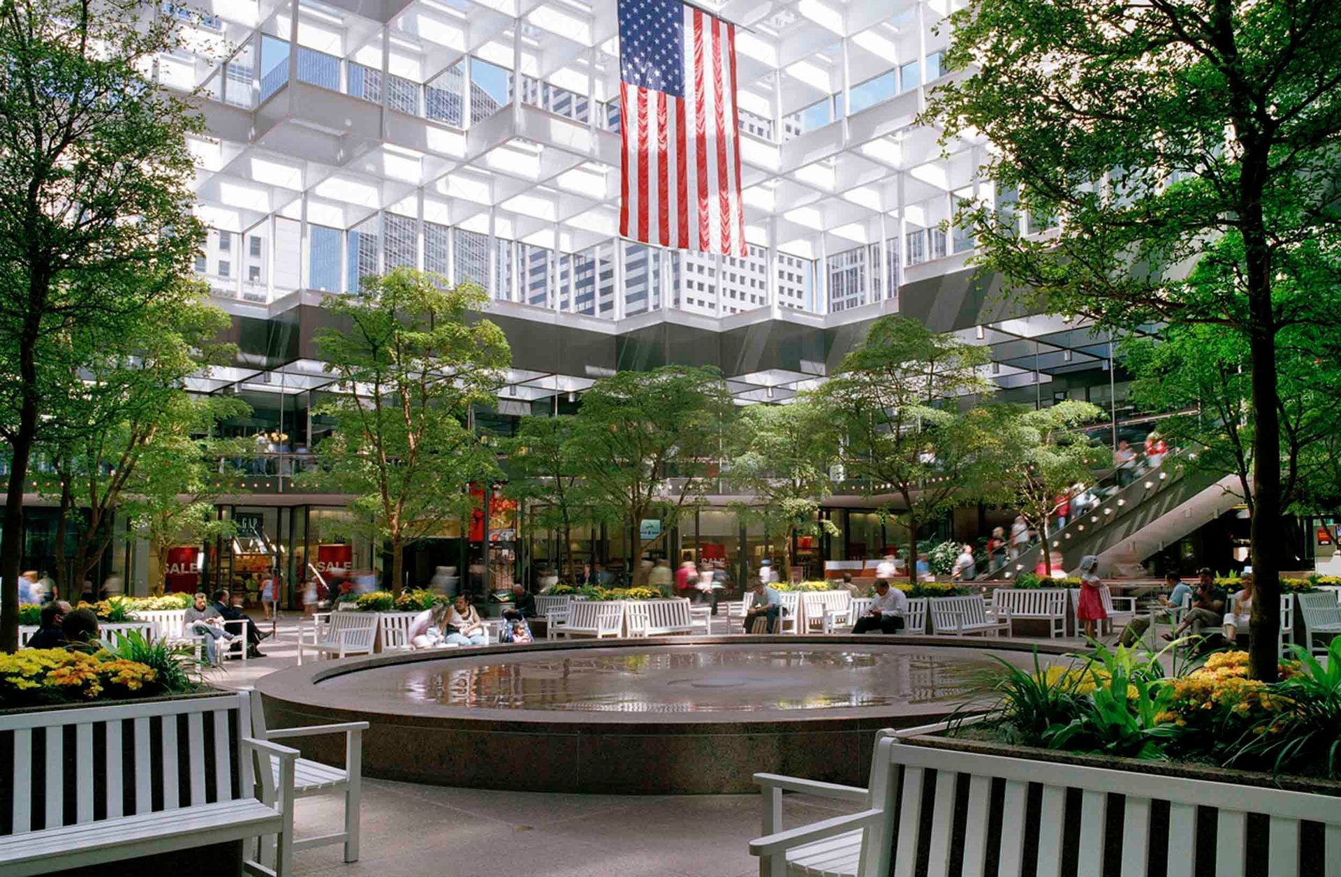 Large trees, shrubs, and flowers make this mall commons space really stand out.