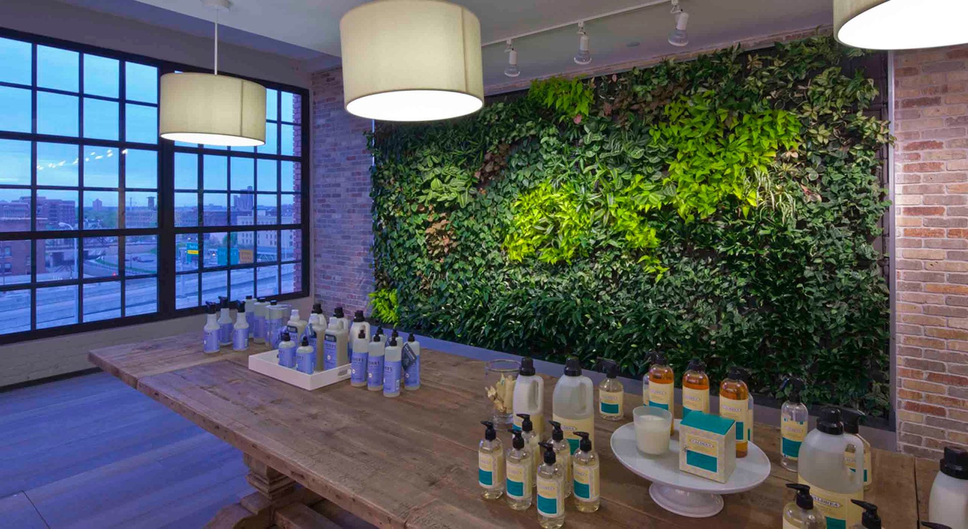 Shown here is a retail space that utilized McCaren Designs to construct a plant wall within their store.