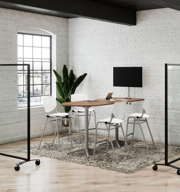 "Create flexible media spaces with our Workwell tables. The horseshoe shape is ideal for mounting up to a 52"" monitor and the Workwell tables accommodate a variety of power options.