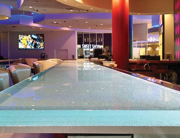 Beautiful custom glass slab bartop in 12 Tribes Resort Casino loacted in Omak, WA