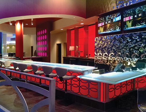 Glass Slab Bartop located in 12 tribes Resort Casino.