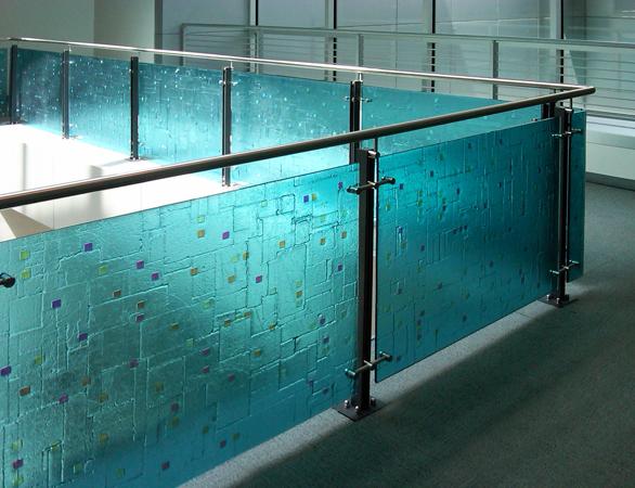 Glass Handrail Inserts at NYC Transit, New York, NY.