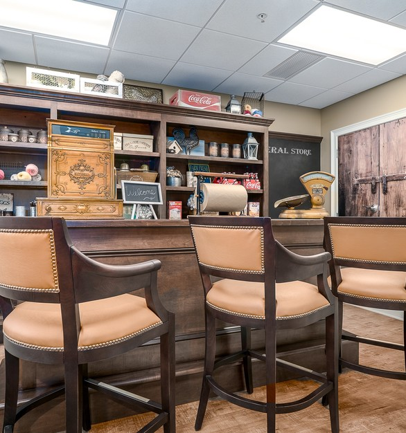 """The General Store offers goods for purchase in a setting reminiscent of a small town village store. Residents can volunteer to """"work"""" there as well, reinforcing a sense of purpose."""