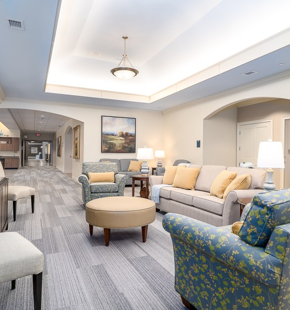 Every neighborhood has a unique residential environment with communal living, dining areas and a full kitchen. Residents can use the kitchen to keep personal items, and with staff supervision can even bake desserts or other favorites.
