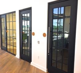 Metal Boutique Blue Apron Office Building Wide-Line metal door