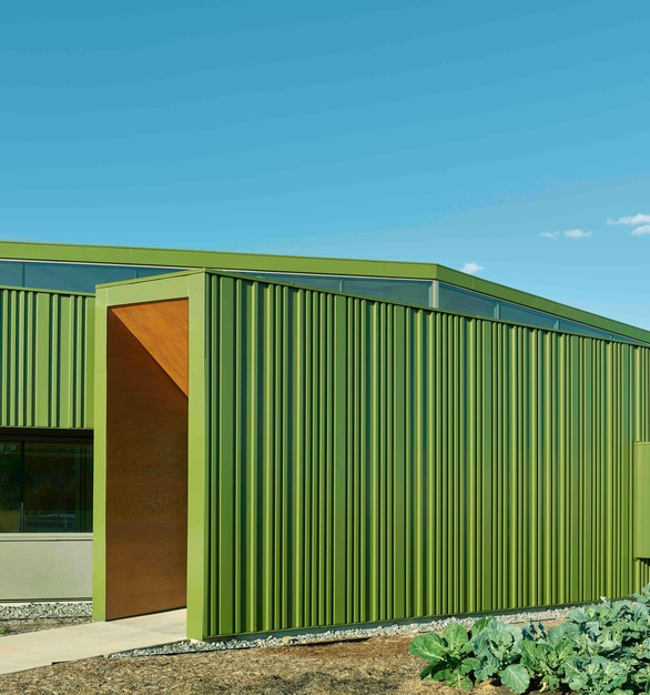Applied to meet the most stringent industry specification, AAMA 2605, the finished metal panels added a specialty metallic clear topcoat to maximize sparkle and enhance color intensity. The solar-reflective pigments in Fluropon SR help to resist heat absorption, contributing to the buildings' energy efficiency. The energy-efficient coating also supports ENERGY STAR®, U.S. Green Building Council's LEED®, and Cool Roof Rating Council program criteria. The school buildings' dashboards and other features enable students to monitor their consumption of energy, food, and water, and to appreciate the global impact of local behavior.  Photo credit: Tim Hursley