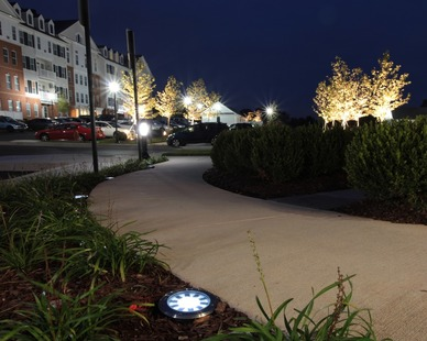 Located in Auburn, Indiana, these SH-220 lights are beautiful and light up this path in a creative and efficient way.