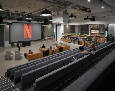 A versatile gathering area featuring comfortable seating for guests and co-workers to enjoy. The Atria 4 lights were chosen to illuminate various areas of Netflix Cue.