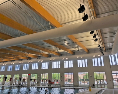 Natatorium rated Tetriss Specialty High Bay lighting fixtures used in El Paso, Texas.
