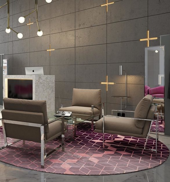 The Milo chair and Richmond mirror truly make any space stunning. All products by MEF Contract.