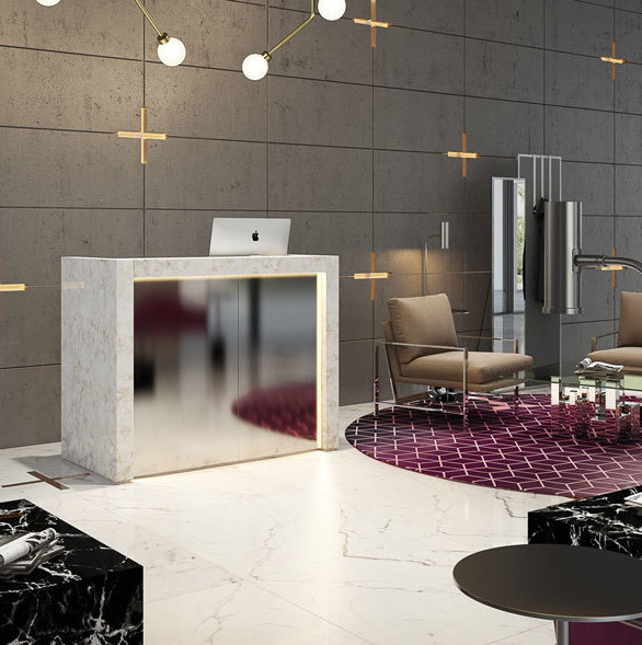The Milo chair, paired with the hot pink Greenwich chair as well as the Draper cube in black and the Richmond mirror truly make any space stunning. All products by MEF Contract.