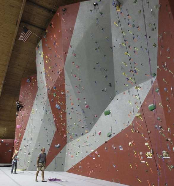 The Miramont Lifestyle Fitness North in Fort Collins, CO features approximately 3,485  sq. ft. of roped climbing wall and 2,500 sq. ft. of bouldering terrain.