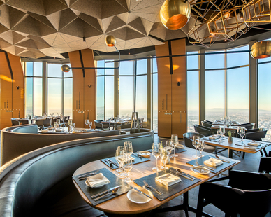 In Los Angeles, CA, 71Above's  3,300 square feet features a modern and stylish design. The large windows, structural glass offer beautiful panoramic views of the city below.