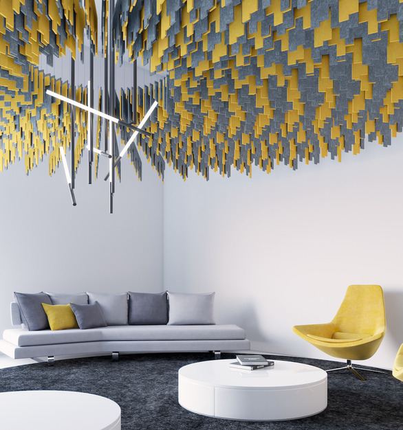 The Skyline Ceiling Baffle stuns in this lounge space. With unique coloring and shapes, these acoustic panels provide style and sound-absorbing function.