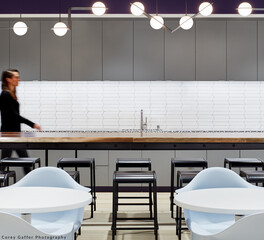 Modern Office Kitchen with Hightop Chairs