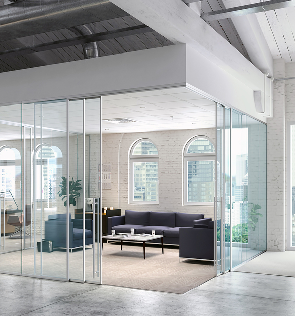 Lama glass systems by Modernus allow privacy with an open office feel.