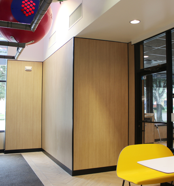 MLU-100 used as a corner guard for wall panels in a McDonald's restaurant.