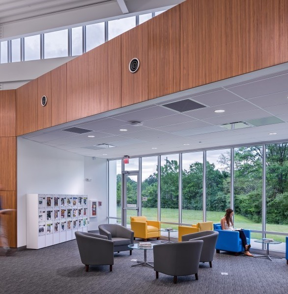 Bright and spacious interior lounge at the Shepards Brand Library in Columbus, Ohio.