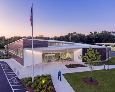 """The shingles on the Shepard Branch Library are coined """"dragon scales"""" by the neighborhood's children. The hope is the shingles and space will continue to foster imagination and inspiration while providing a unique gateway entry experience to the Shepard Community."""