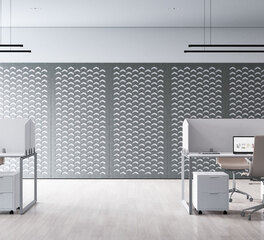 Mounted Acoustic Wall Panel in Open Office Environment