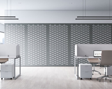 Mur Acoustic Wall Panels shown here in the Link pattern add style to this open office workspace. These mounted wall panels also provide sound absorption and ambient noise reduction.