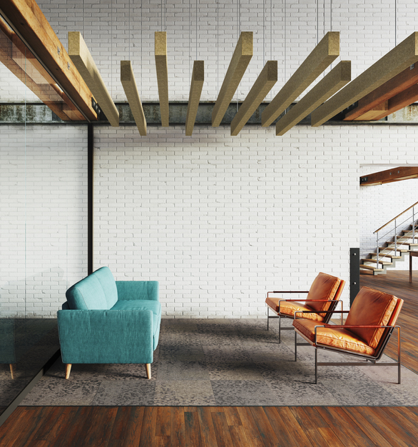 Joist Ceiling Baffle appear as a sculpture in the lounge space, but they also provide sound-reducing properties.