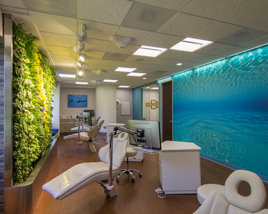 Gorton & Schmohl Orthodontics created a welcoming environment by incorporating a Murals Your Way under water wall mural to help put patients at ease while also adding depth to their narrow clinical area.