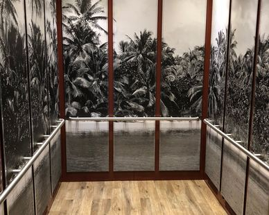 This custom black and white palm tree wall murals were the perfect fit for this hotel elevator, by Murals Your Way.