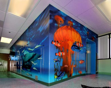 When Oxyheal Health Group planned to install a hyperbaric chamber at the University Medical Center in Las Vegas they chose Murals Your Way to created the perfect underwater marine life wall murals for their new rooms.
