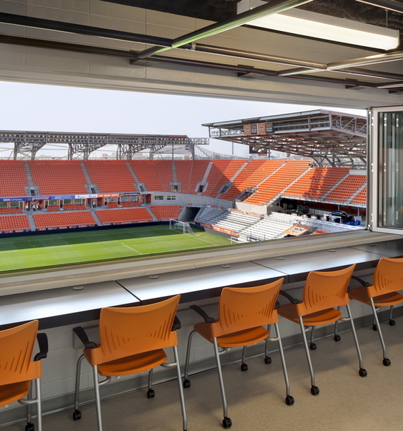 The press box at BBVA Compass Stadium now features 10 panels of Nanawall's SL70 Monumental Thermally Broken Aluminum Framed Folding System, split between two openings.