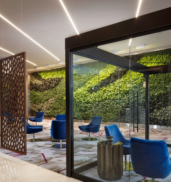 Natura installed a stunning gSky Versa Wall in the Embassy Suites by Hilton in Amarillo, Texas. The Versa Wall utilizes 3399 live plants of 5 different varieties.