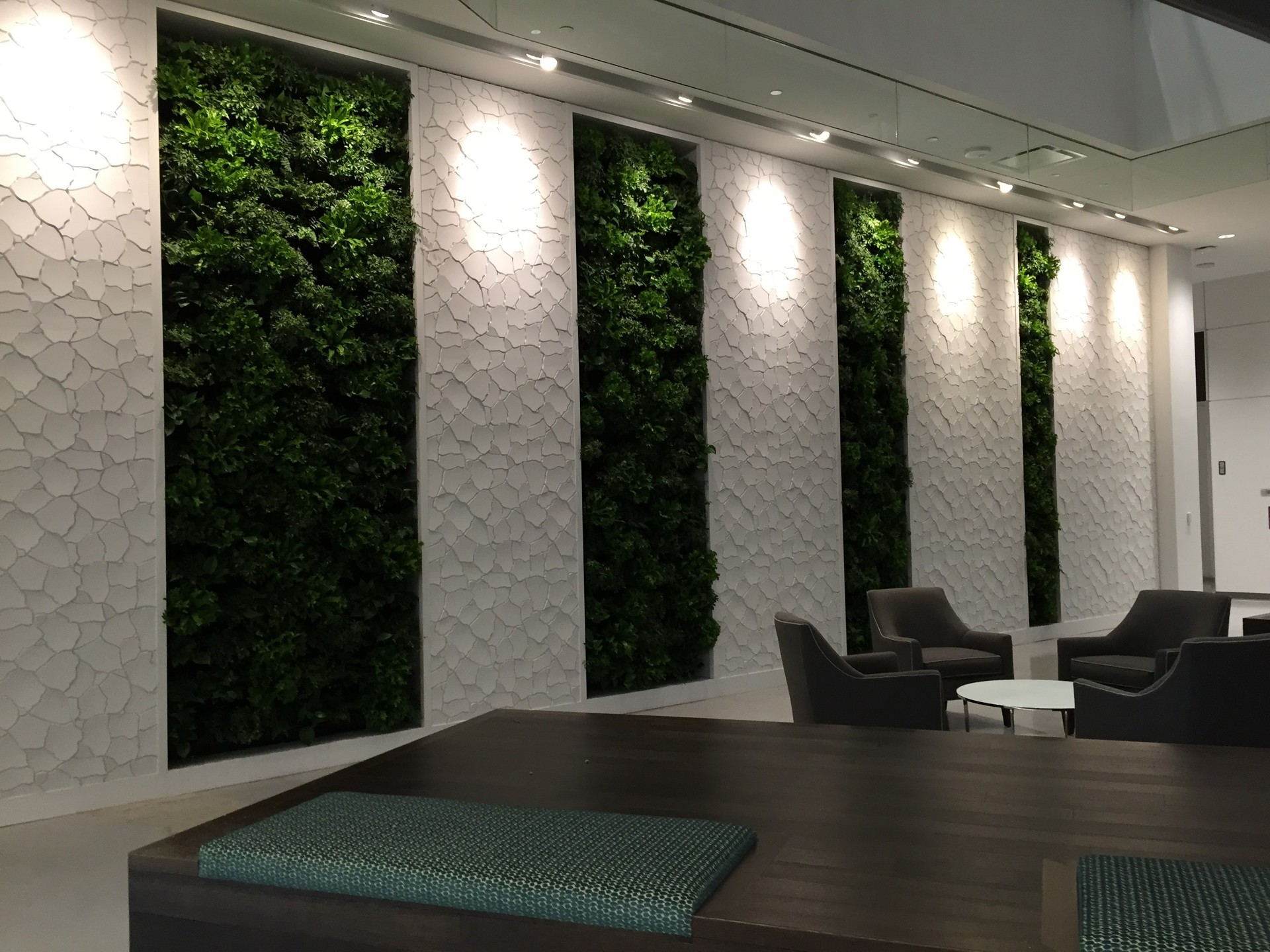 A green wall system, by Natura, not only adds to the aesthetic but is also a healthy option for an office space.