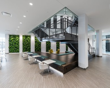 In the lounge of the Kubota North American Headquarters you can see Natura's texas green wall system design.