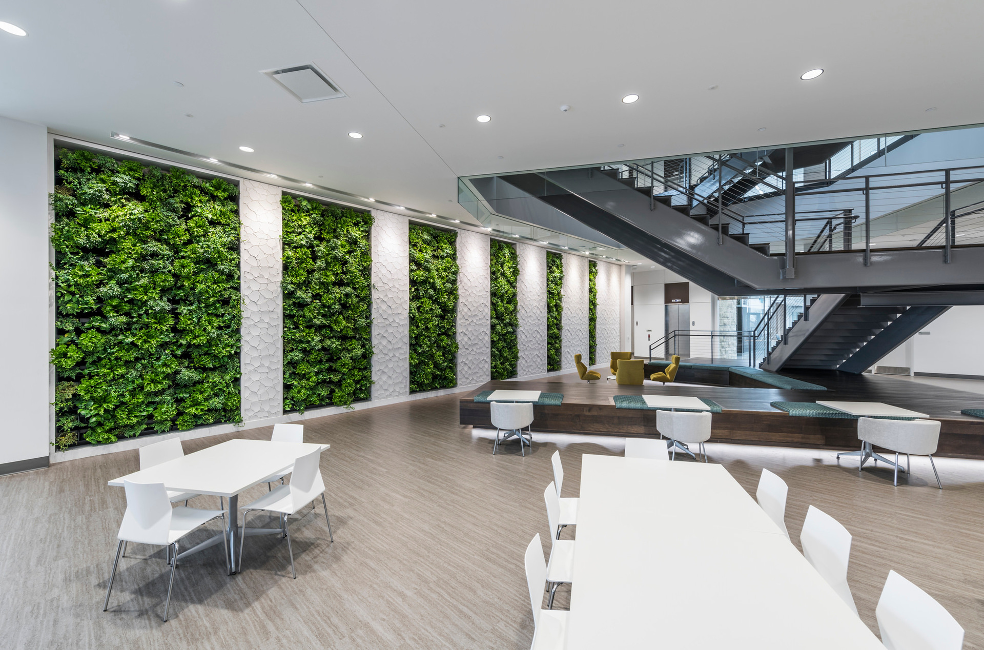Green living walls are an emerging architectural design feature in the urban built environment. Seen here by Natura.