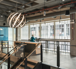 Natural Light Filled Offices in Chicago with Glass Wall Paneling Partially Transparent while still offering Privacy