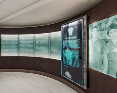 The newly renovated Lobby features a custom-designed marble and glass wall at the entrance of the House with the names of those who made the House a reality and those who continue to support it.  Photo Credit: Anton Grassl