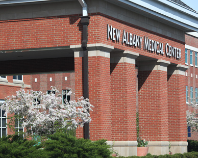 The brick porte cochere at the New Albany Medical Center is a great addition to the facility.    The USA Made bricks were from The Belden Brick Company.