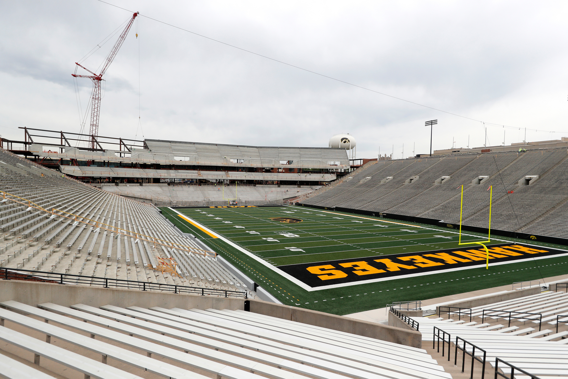 The view of the north end zone from the southwest corner during construction on June 6, 2018. Photography by  Brian Ray/hawkeyessports.com