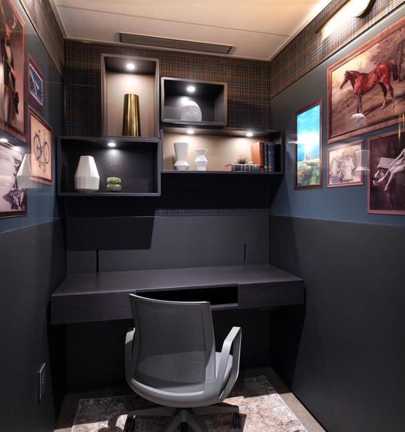 New York DIRTT Experience Center photo showing a phone booth built using DIRTT custom modular interior solutions.