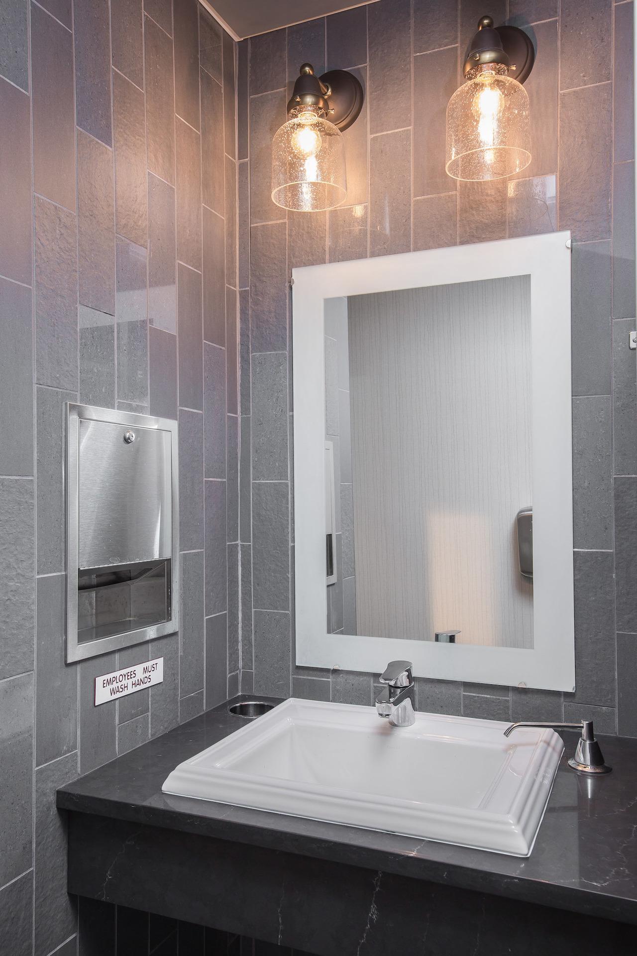 Bathroom fixtures at the North Shore Inn in Benton Harbor, Michigan.