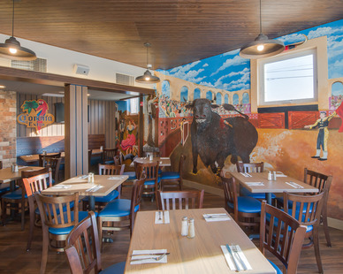 Dining area at the North Shore Inn in Benton Harbor, Michigan.